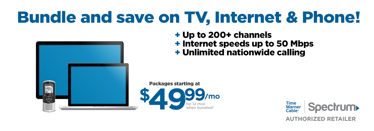 TV + Internet + Phone from $ 99 /mo. each for 12 mos when bundled ∗ FREE DVR Service for your first box *. Time Warner Cable and Charter Spectrum have merged to bring you TV, Internet and Home Phone services at a great price!